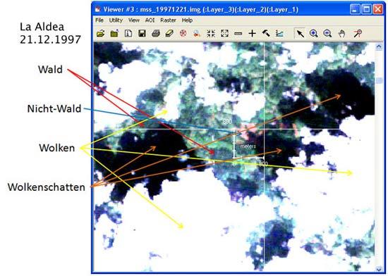 La Aldea - 1997-12-21 - In der Bildmitte erkennt man das Koordinatensystem. Die beiden Pfeile haben eine Länge von umgerechnet 800 Metern. Das Quadrat, das sie abbilden, entspricht also einer Fläche von ca. 64 Hektar.