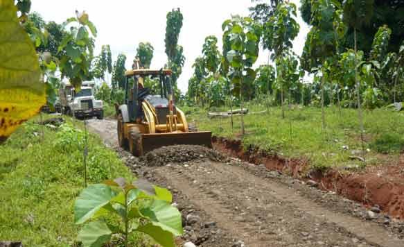 Mehrere Kilometer befestigte Wege wurden zu stabilen Schotterstrassen ausgebaut